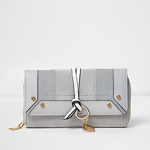 Grey mixed texture foldover purse