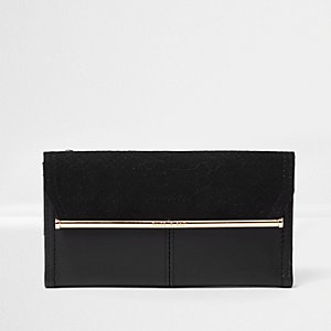 Black gold tone bar slim purse