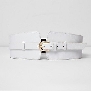 White croc embossed wide waist belt