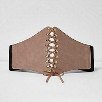 Light beige wide lace-up front corset belt