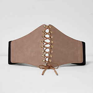 Light beige wide lace-up front corset belt