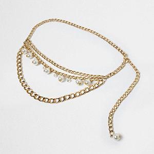 Gold tone multi link chain belt