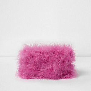 Pink feather make-up bag