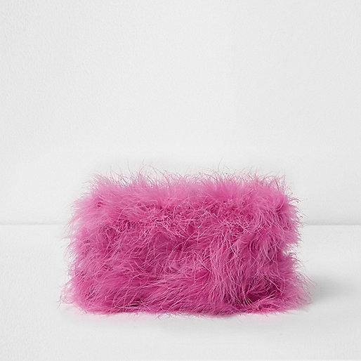 Pink feather make-up bag