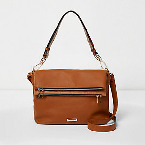 Tan foldover underarm cross body slouch bag