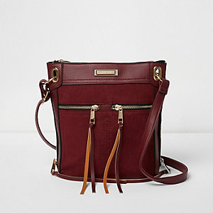Dark red cross body messenger bag