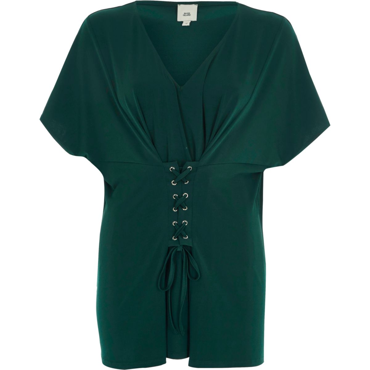 Green corset front V neck top