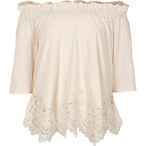 Cream bardot lace hem top