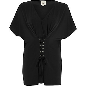 Black corset front V neck caftan top