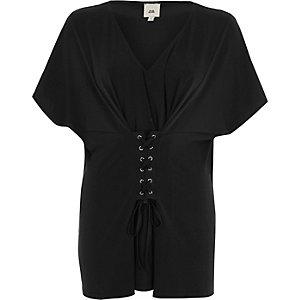 Zwarte kaftantop met V-hals en corsetdetail voor