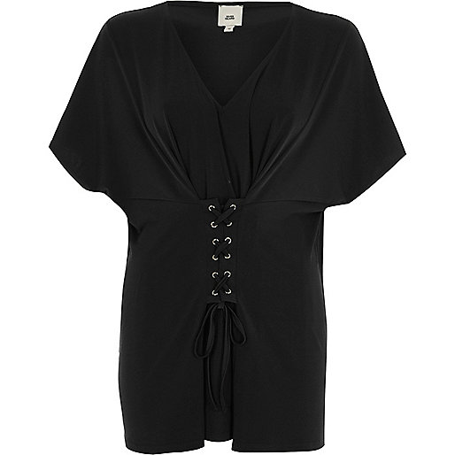 Black corset front V neck caftan top