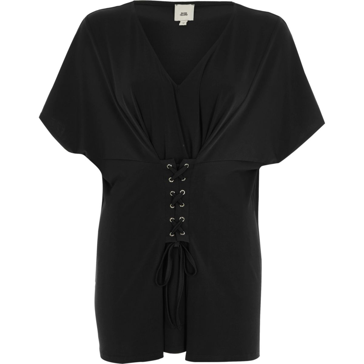 Black corset front V neck kaftan top