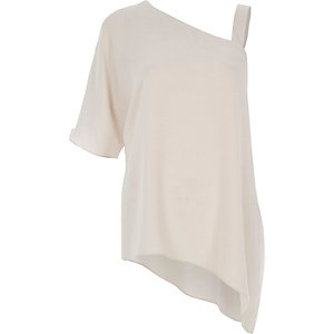 Light grey one shoulder asymmetric T-shirt