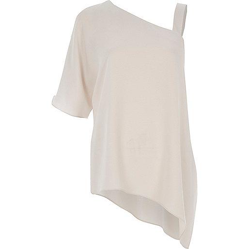 Light grey one shoulder asymmetric T-shirt