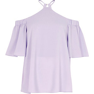 Light purple cold shoulder cross neck top