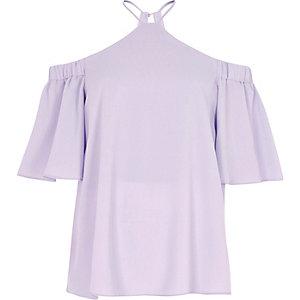 Top violet clair croisé à épaules dénudées