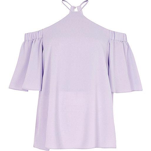 Light purple cold shoulder cross neck top