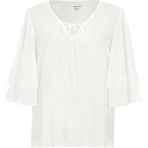 White dobby tiered frill sleeve top
