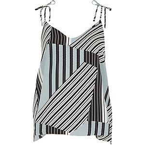 Blue mixed stripe print bow shoulder cami top