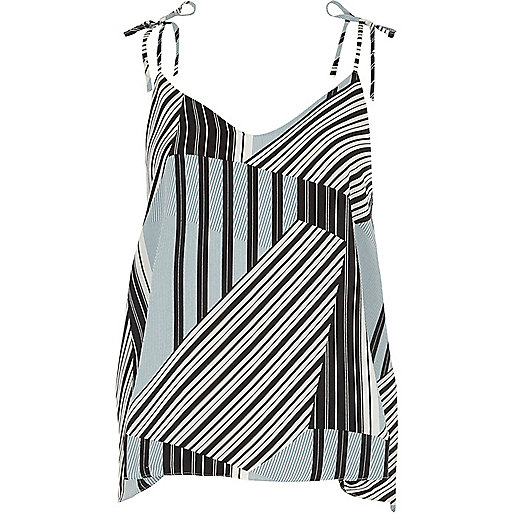 Blue mixed stripe print bow shoulder cami top