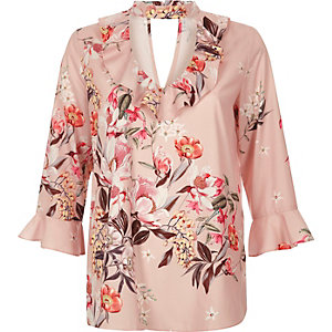 Pink floral print choker frill top