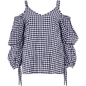 Navy gingham puff sleeve cold shoulder top