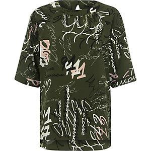 T-shirt en crêpe à inscription vert