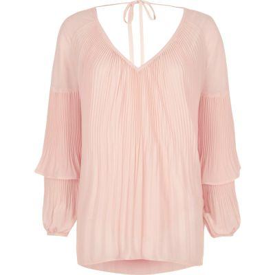 Roze plissé blouse met ruches aan de mouwen