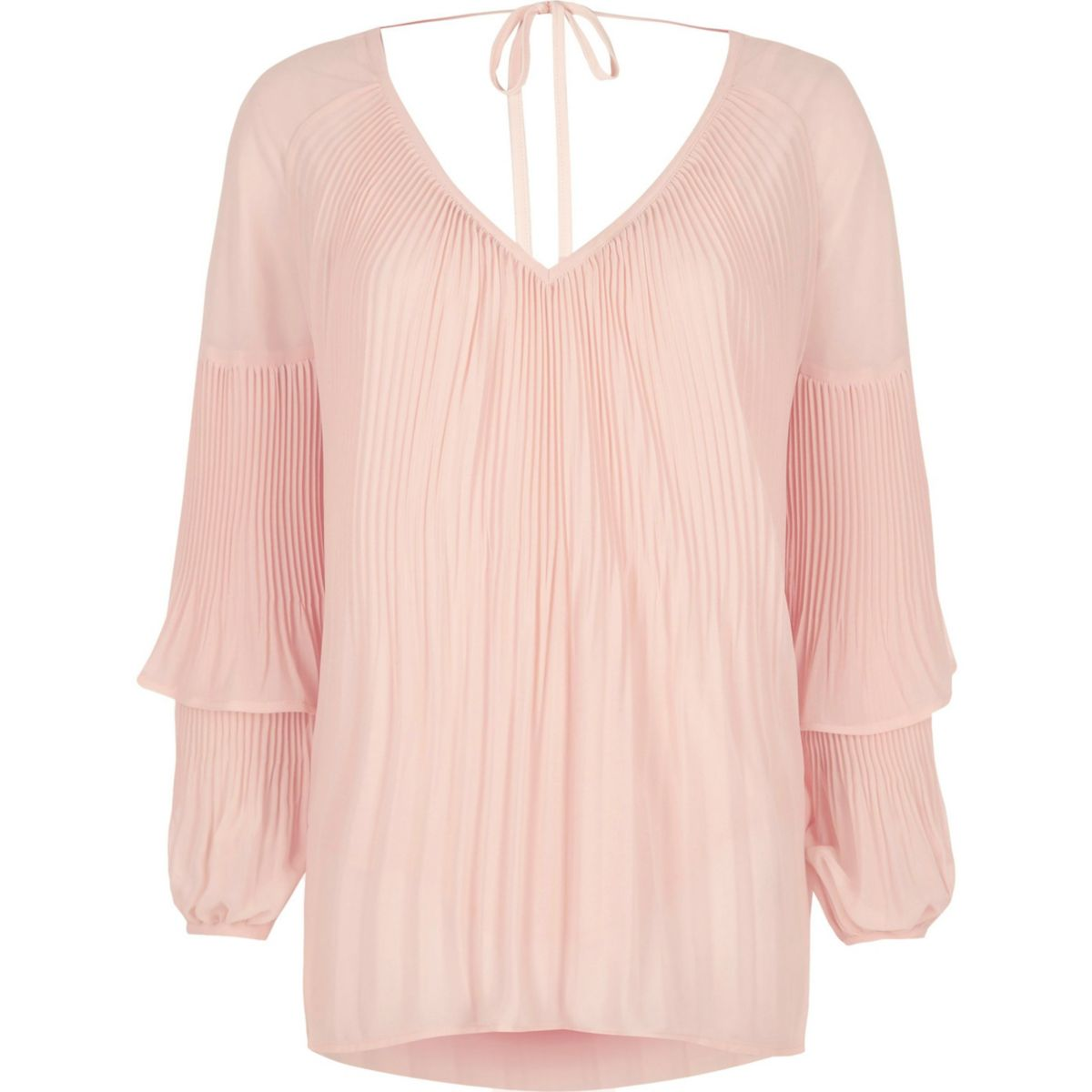 Pink plisse frill sleeve blouse