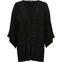Black floral embroidered fringed kimono