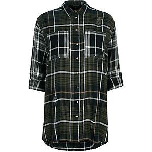 Kariertes Oversized Hemd in Khaki