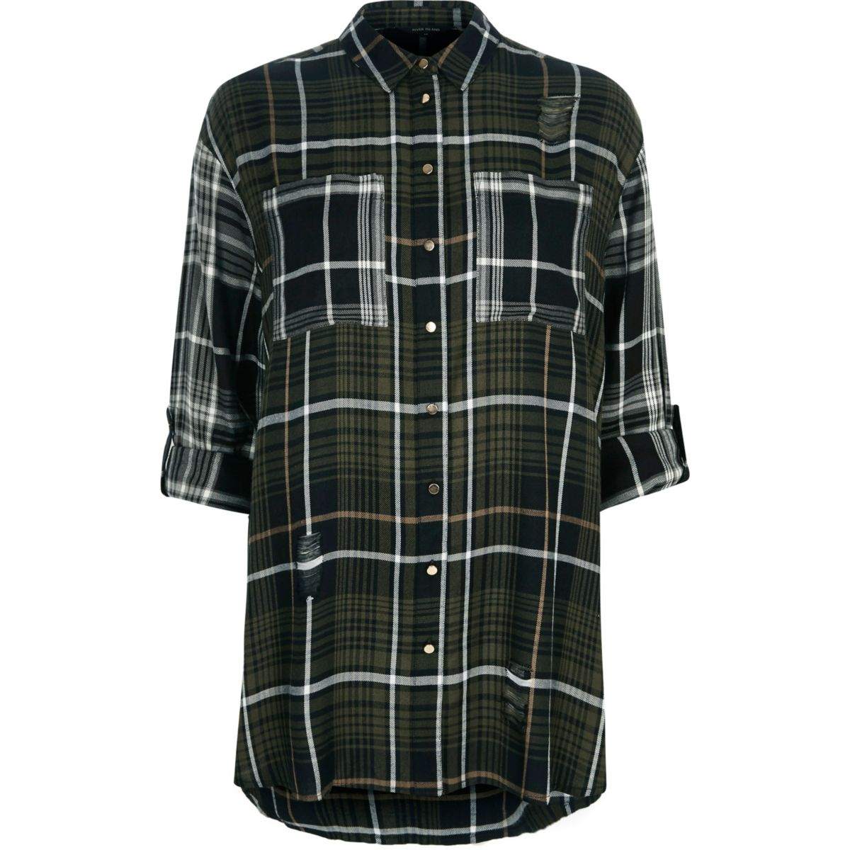 Khaki green check oversized shirt