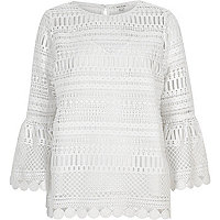 White lace bell sleeve tunic top