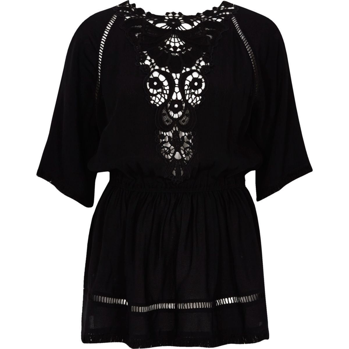 Black short sleeve embroidered top