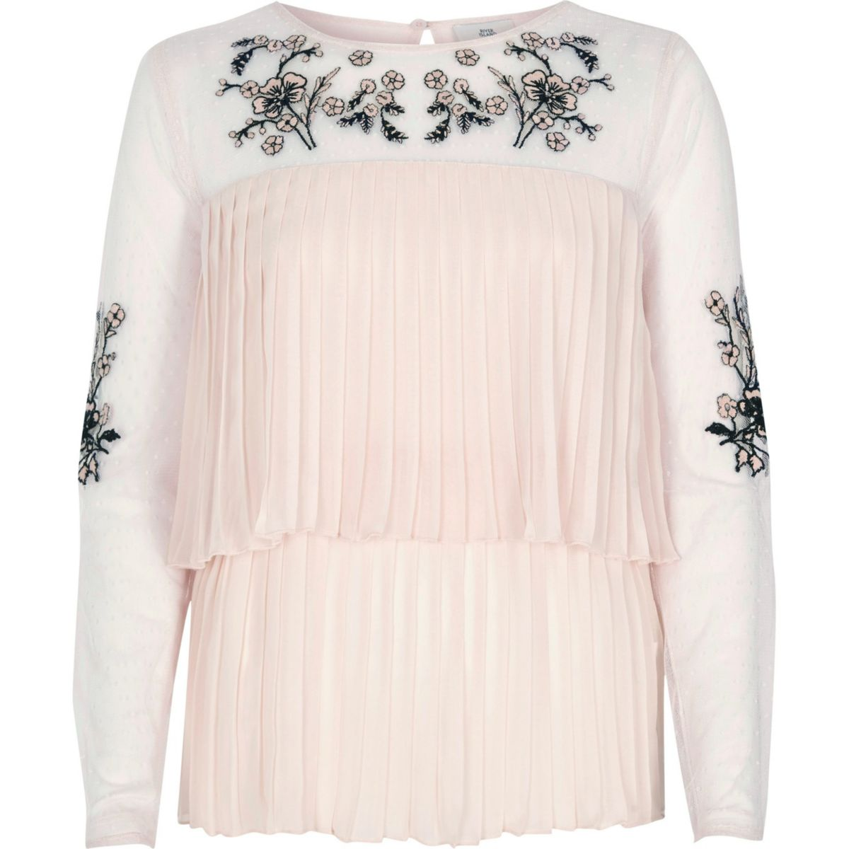 Cream pleated floral embroidered top