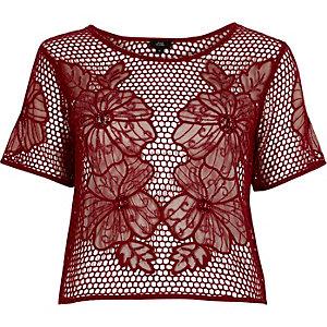 T-shirt au crochet motif fleuri rouge foncé