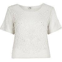 Cream floral crochet T-shirt