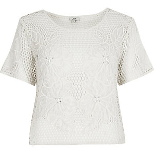 Cream floral crochet T-shirt