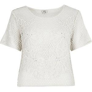 T-shirt au crochet motif fleuri crème
