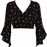 Black ditsy floral wrap frill sleeve crop top