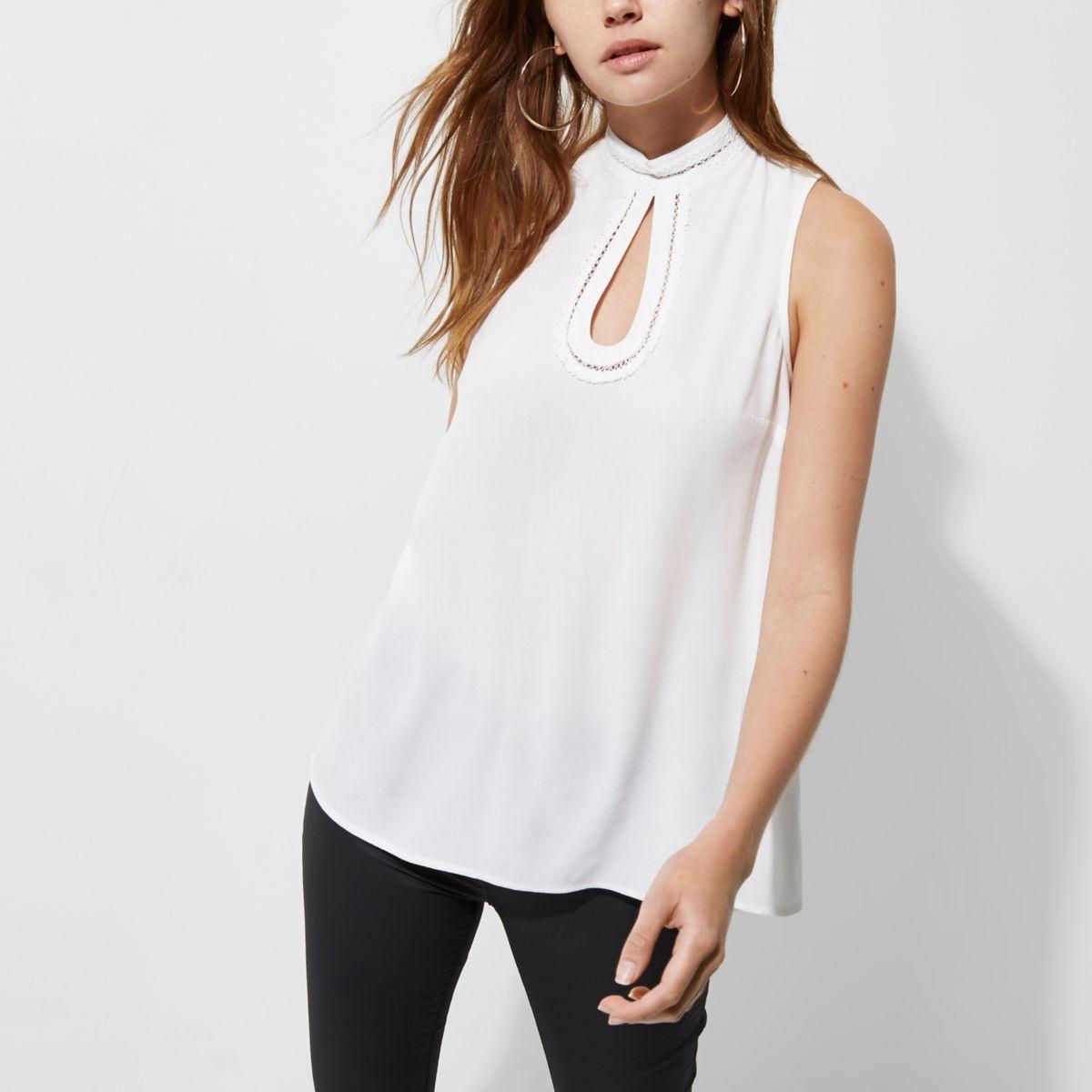 White high neck crochet trim sleeveless top