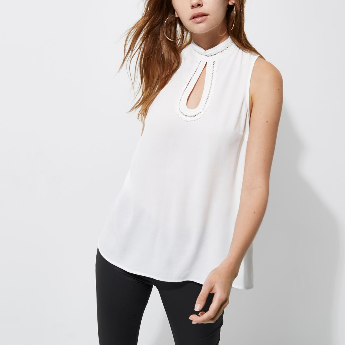 White high neck crochet trim sleeveless top