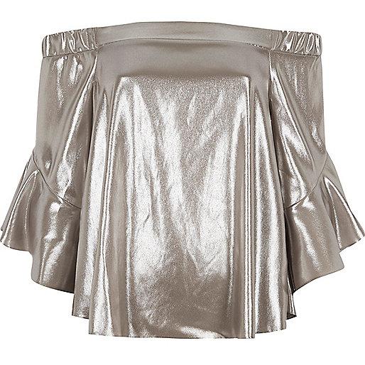 Silver foil bardot bell sleeve top