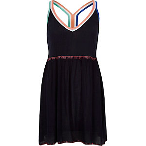 Navy color block racer back beach dress