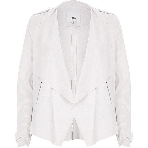 Beige faux suede fallaway collar jacket