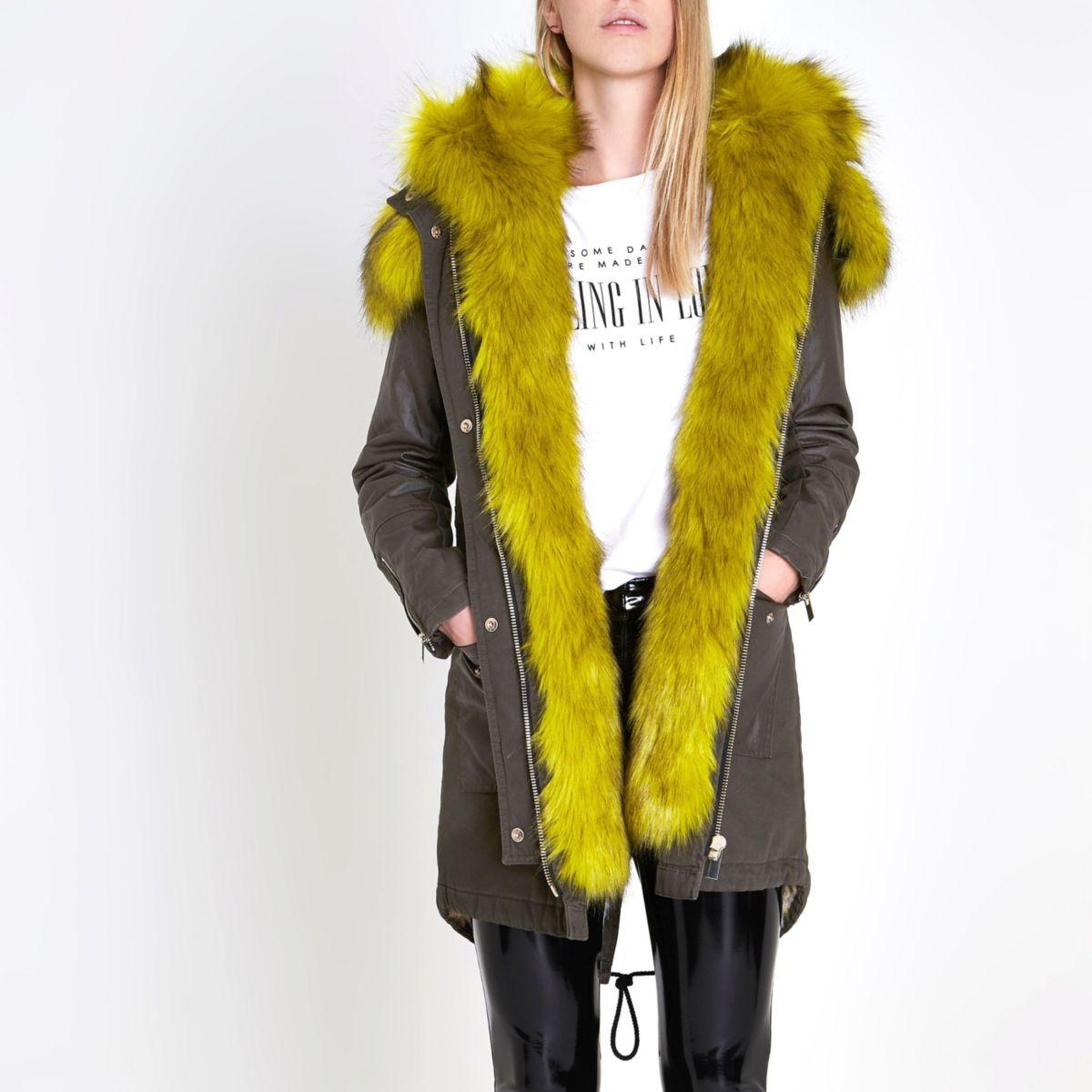 Khaki lime faux fur hooded parka