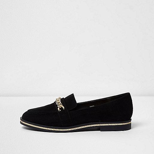 Zwarte loafers met ketting