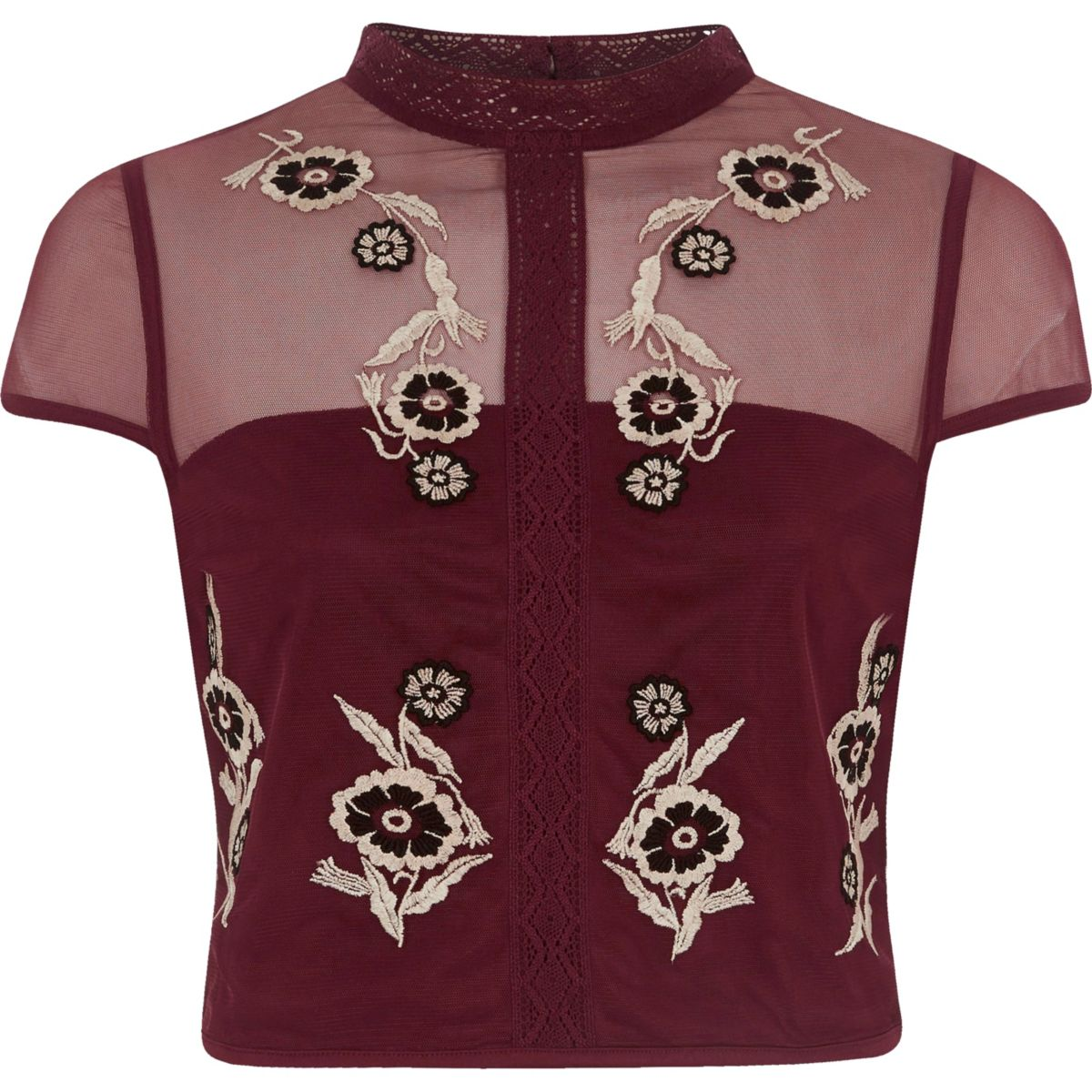 Dark red mesh embroidered cap sleeve crop top