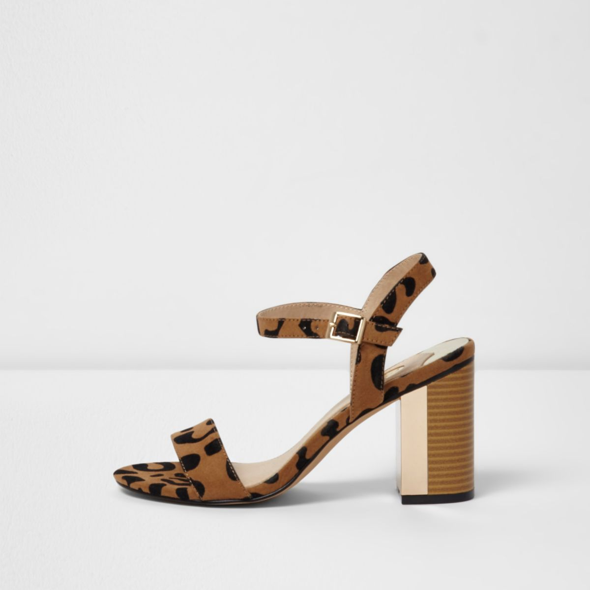 Beige leopard block heel barely there sandals