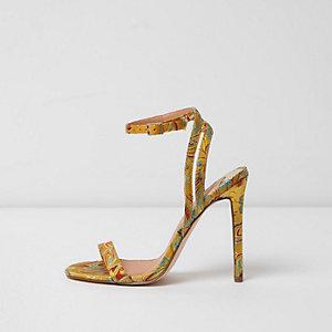 Gele minimalistische sandalen met bloemenprint